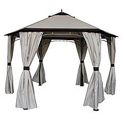 Debenhams - Cream 'Dover' hexagonal gazebo