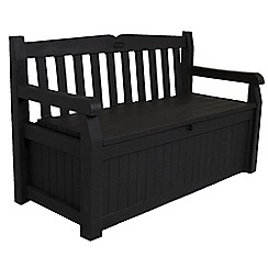 Debenhams - Brown wood effect 'Iceni' garden storage bench