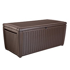 Debenhams - Brown wood and rattan effect 'Celtic' garden storage box