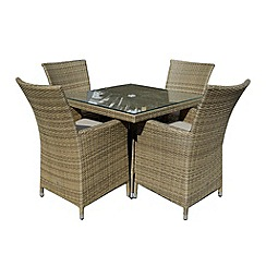 Debenhams - Light brown rattan-effect 'LA' square table and 4 chairs