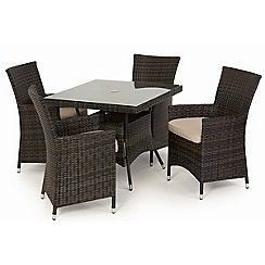 Debenhams - Dark brown rattan-effect 'LA' square table and 4 chairs