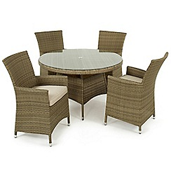 Debenhams - Light brown rattan-effect 'LA' round table and 4 chairs