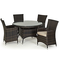 Debenhams - Dark brown rattan-effect 'LA' round garden table and 4 chairs