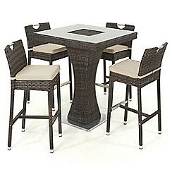 Debenhams - Dark brown rattan-effect 'LA' bar table with ice bucket and 4 chairs