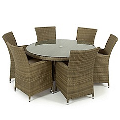 Debenhams - Light brown rattan-effect 'LA' round table and 6 chairs