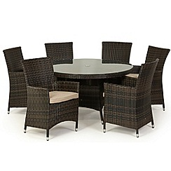 Debenhams - Dark brown rattan-effect 'LA' round table and 6 chairs
