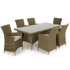 Debenhams - Light brown rattan-effect 'LA' rectangular garden table and 6 chairs