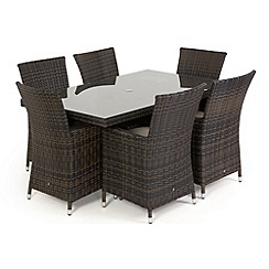 Debenhams - Dark brown rattan-effect 'LA' rectangular table and 6 chairs