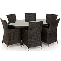 Debenhams - Dark brown rattan-effect 'LA' oval table and 6 chairs