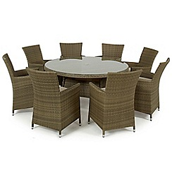 Debenhams - Light brown rattan-effect 'LA' round table and 8 chairs