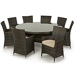 Debenhams - Dark brown 'LA' round table and 8 chairs