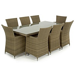 Debenhams - Light brown rattan-effect 'LA' rectangular table and 8 chairs