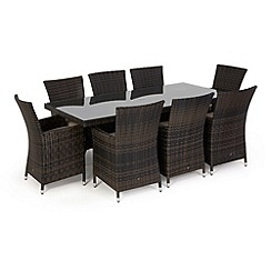 Debenhams - Dark brown rattan-effect 'LA' rectangular table and 8 chairs