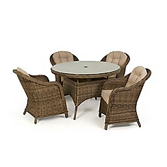 Debenhams - Light brown rattan-effect 'Winchester' round table and 4 armchairs
