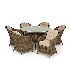 Debenhams - Light brown rattan-effect 'Winchester' round garden table and 6 armchairs
