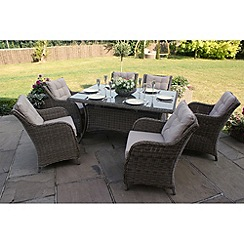 Debenhams - Light brown rattan-effect 'Winchester' rectangular table and 6 armchairs