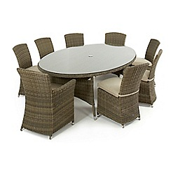 Debenhams - Light brown rattan-effect 'Winchester' oval table, 6 chairs and 2 carver chairs