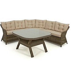 Debenhams - Light brown rattan-effect 'Winchester' round corner garden dining unit