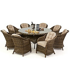 Debenhams - Light brown rattan-effect 'Winchester' round table and 8 armchairs