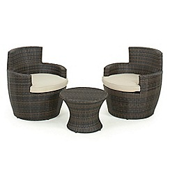 Debenhams - Dark brown rattan-effect 'LA Boston' side table and 2 armchairs