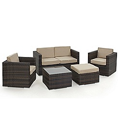 Debenhams - Dark brown 'LA' sofa, coffee table, 2 armchairs and footstool