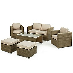 Debenhams - Light brown rattan-effect 'LA' garden sofa, coffee table, 2 armchairs and footstools