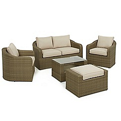 Debenhams - Light brown 'LA Washington' sofa, side table, 2 armchairs and footstool