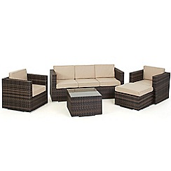 Debenhams - Dark brown 'LA Georgia' sofa, side table, 2 armchairs and footstool