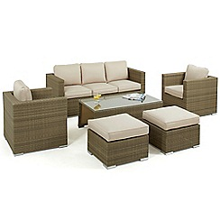 Debenhams - Light brown 'LA' sofa, coffee table, 2 armchairs and 2 footstools