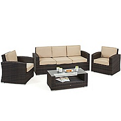 Debenhams - Dark brown rattan-effect 'LA Kingston' sofa, coffee table and 2 armchairs