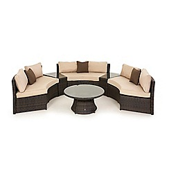Debenhams - Dark brown rattan-effect 'LA' half moon sofa set