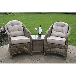 Debenhams - Light brown rattan-effect 'Winchester' lounge chairs and side table