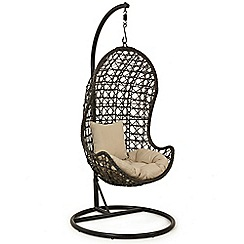 Debenhams - Dark brown rattan-effect 'LA' hanging chair
