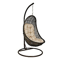 Debenhams - Dark brown rattan-effect 'LA Malibu' garden hanging chair