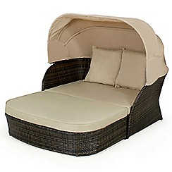Debenhams - Dark brown rattan-effect 'LA' outdoor daybed