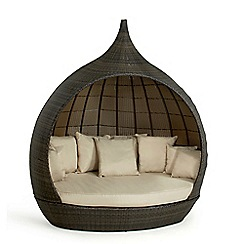 Debenhams - Dark brown rattan-effect 'LA Pear' outdoor daybed