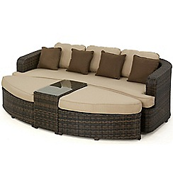 Debenhams - Dark brown rattan-effect 'LA Toronto' outdoor daybed