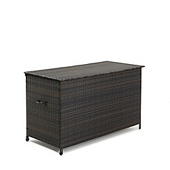 Debenhams - Dark brown rattan-effect 'LA' outdoor storage box