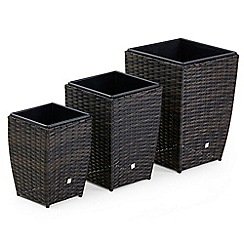 Debenhams - Dark brown rattan-effect 'LA' set of planters