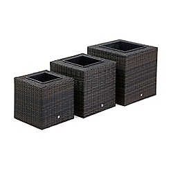 Debenhams - Dark brown rattan-effect 'LA' set of square planters
