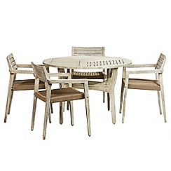 Debenhams - Acacia wood 'Mikado' round table and 4 carver chairs