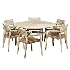 Debenhams - Acacia wood 'Mikado' large round garden table and 6 carver chairs