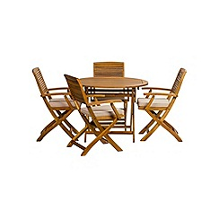 Debenhams - Acacia wood 'Panama' round table and 4 carver chairs