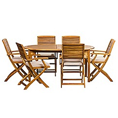 Debenhams - Acacia wood 'Panama' oval garden table and 6 carver chairs
