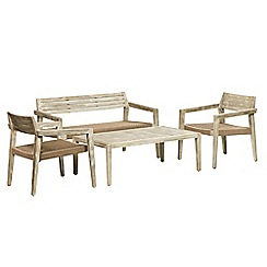 Debenhams - Acacia wood 'Mikado' table, bench and 2 carver chairs