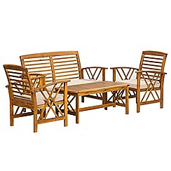Debenhams - Acacia wood 'Panama' table, bench and 2 carver chairs