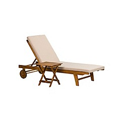 Debenhams - Acacia wood 'Panama' sunlounger and side table