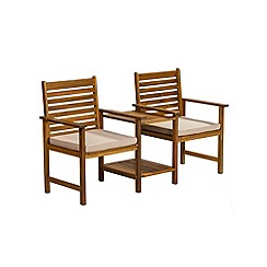 Debenhams - Acacia wood 'Panama' duo bench