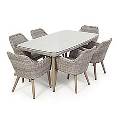 Debenhams - Grey rattan-effect 'Palmira' garden table and 6 chairs