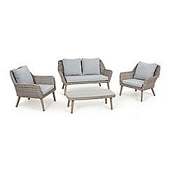 Debenhams - Grey rattan-effect 'Palmira' garden sofa, coffee table and 2 armchairs